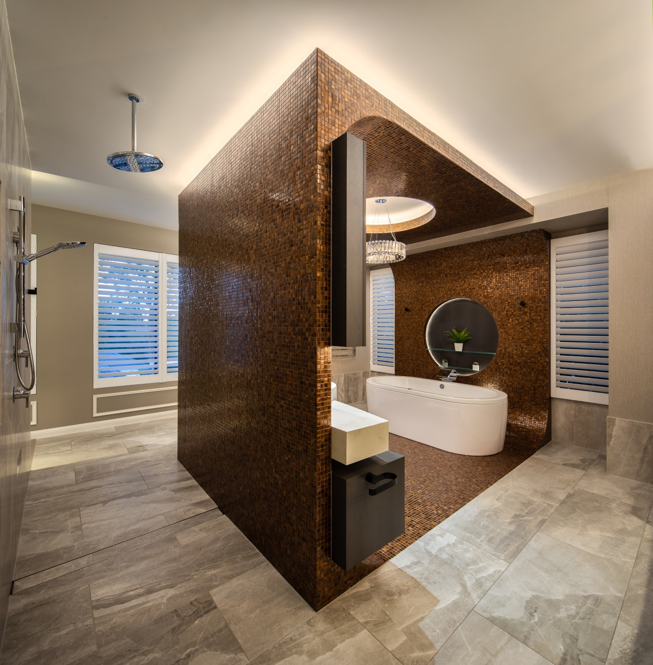 One feature of this master suite is the