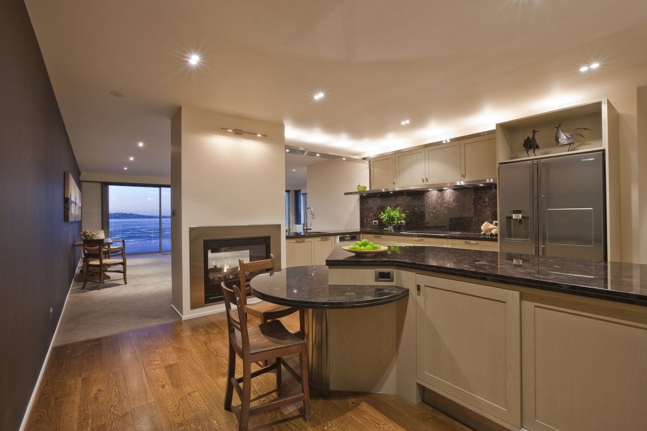 View of kitchen which features brown granite benchtops, countertop, home, interior design, kitchen, real estate, room, brown