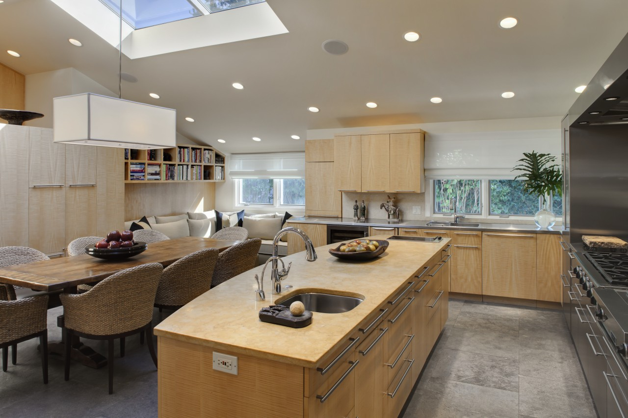 View of kitchen with wooden cabinetry and island, ceiling, countertop, interior design, kitchen, real estate, gray