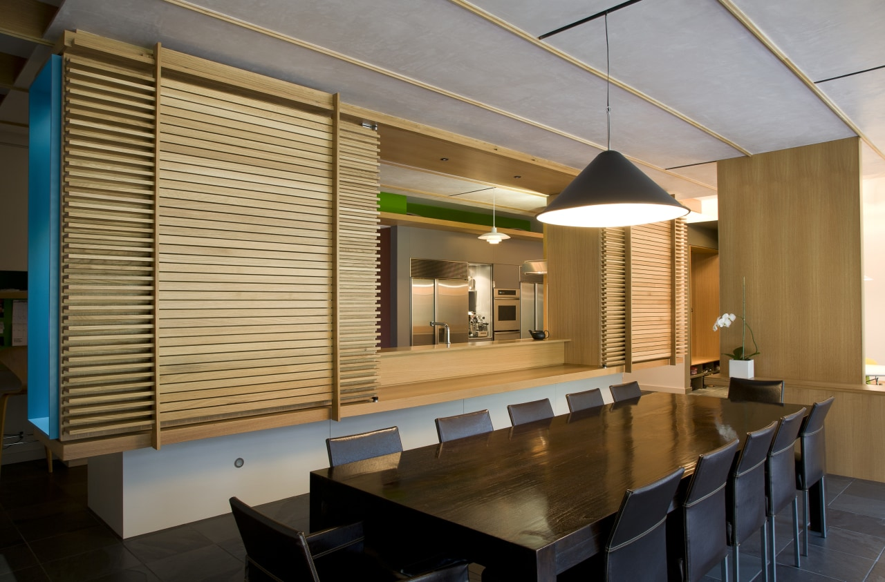 View of modernist style kitchen with wooden cabinetry architecture, ceiling, interior design, lobby, wood, brown