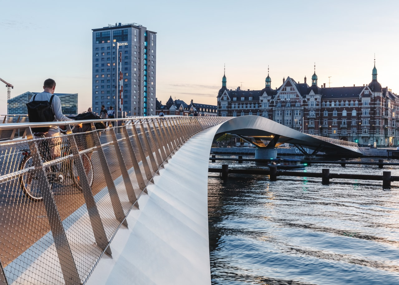 The elegant Lille Langebro cycle and pedestrian bridge white