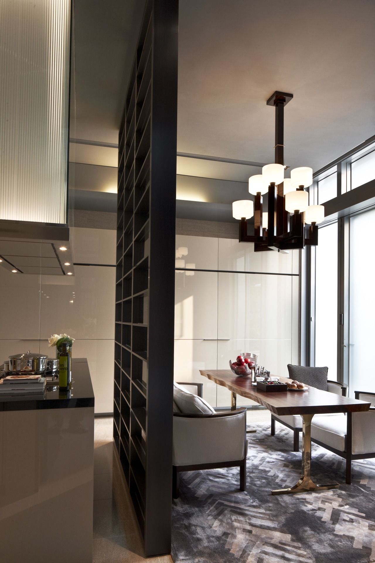 View of dining area in a contemporary home. ceiling, interior design, light fixture, black, brown