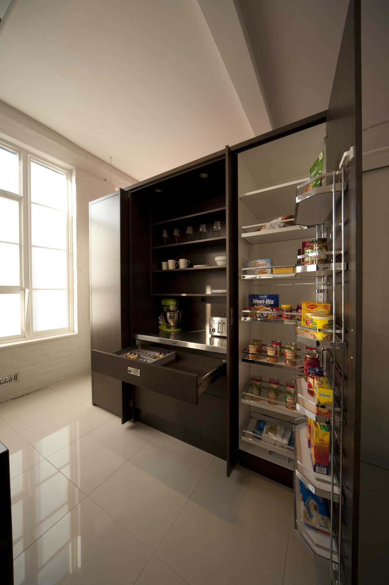 Upmarket kitchen cabinet. Allure Oak. Matt finish. Vertical interior design, refrigerator, shelf, shelving, brown, gray