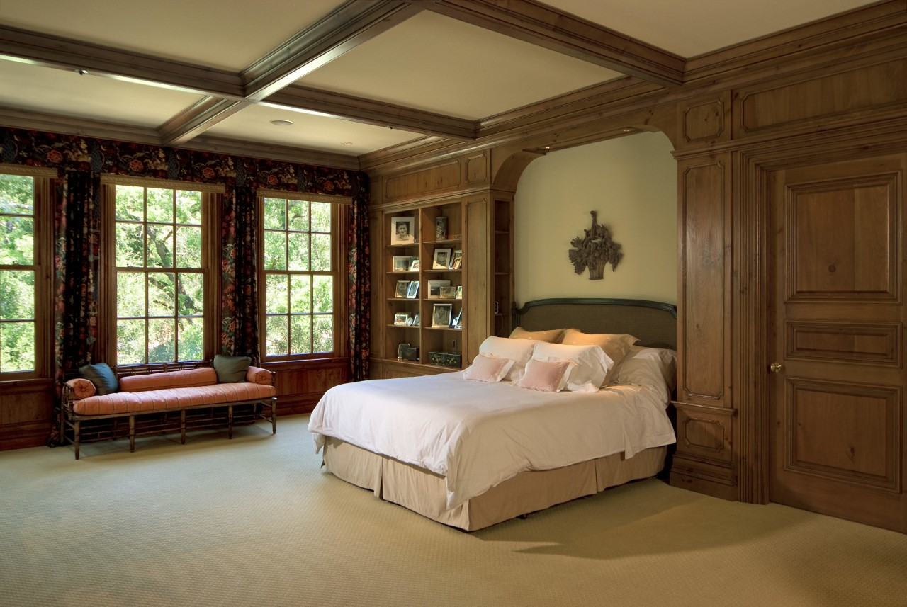 This is a master suite designed by Chuck bed, bed frame, bedroom, ceiling, estate, furniture, interior design, real estate, room, wall, window, wood, brown