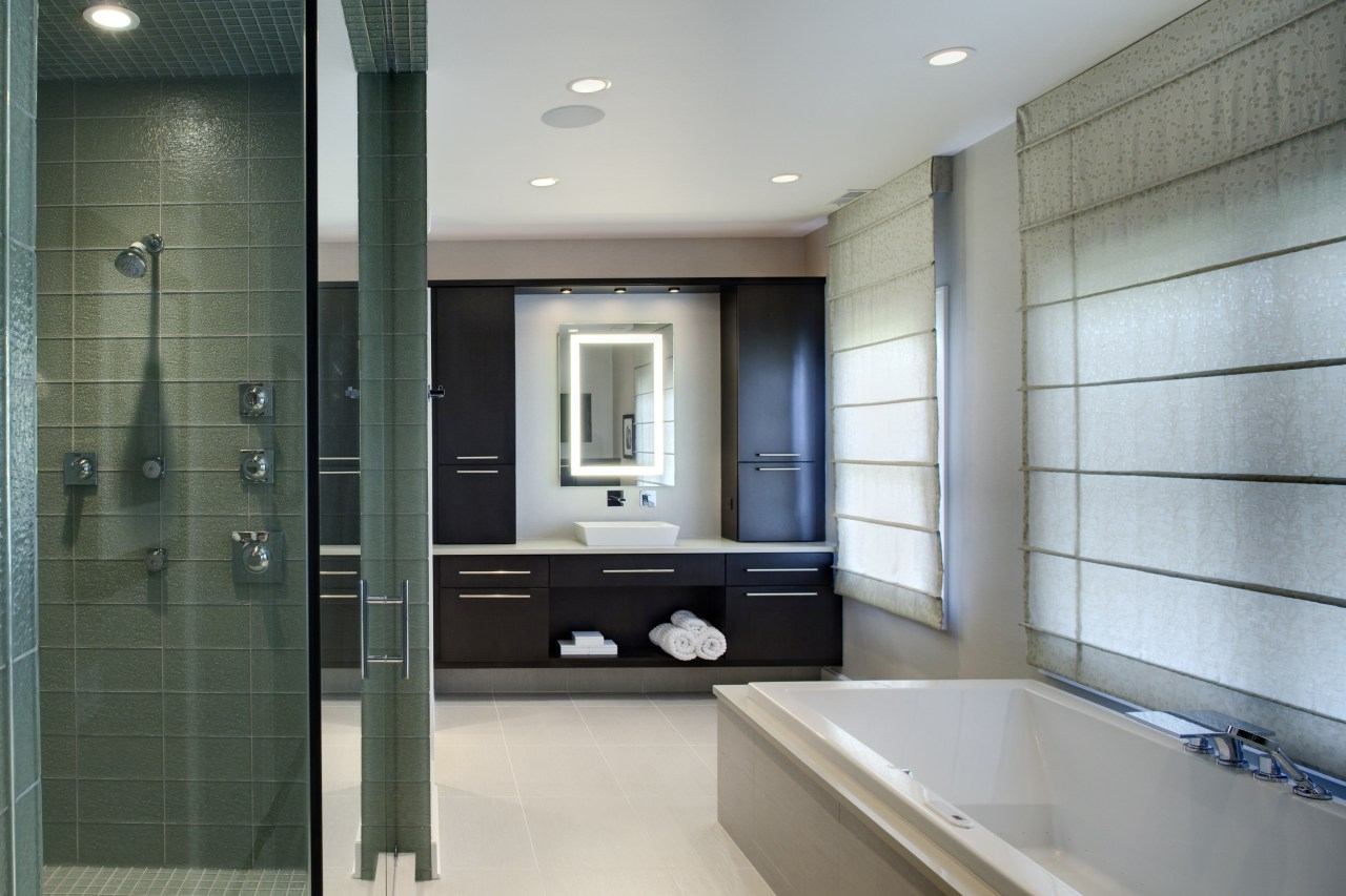 This suite which has been redesigned by Drury bathroom, floor, interior design, room, gray