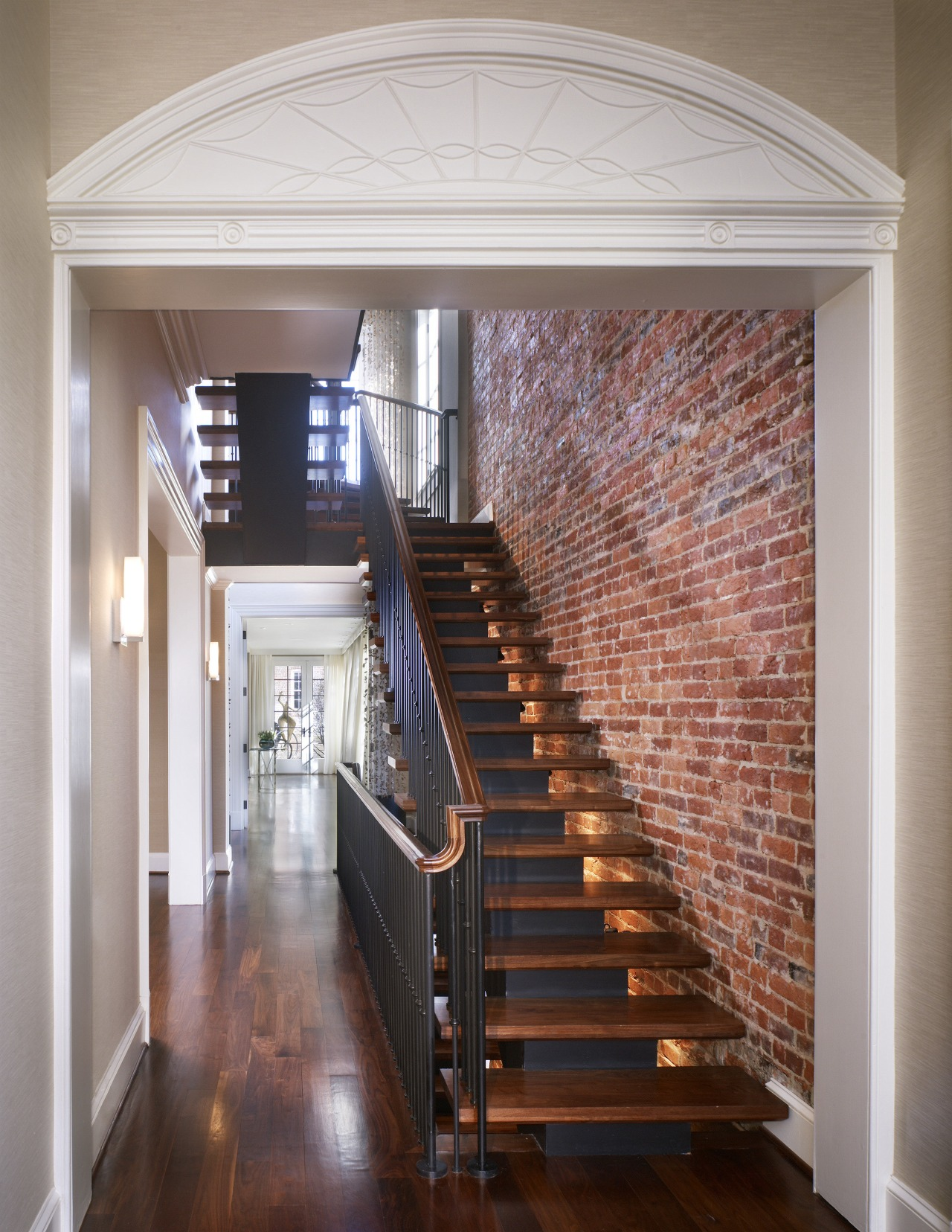 Read the renovation story here architecture, ceiling, daylighting, estate, floor, flooring, handrail, hardwood, home, interior design, real estate, stairs, window, gray