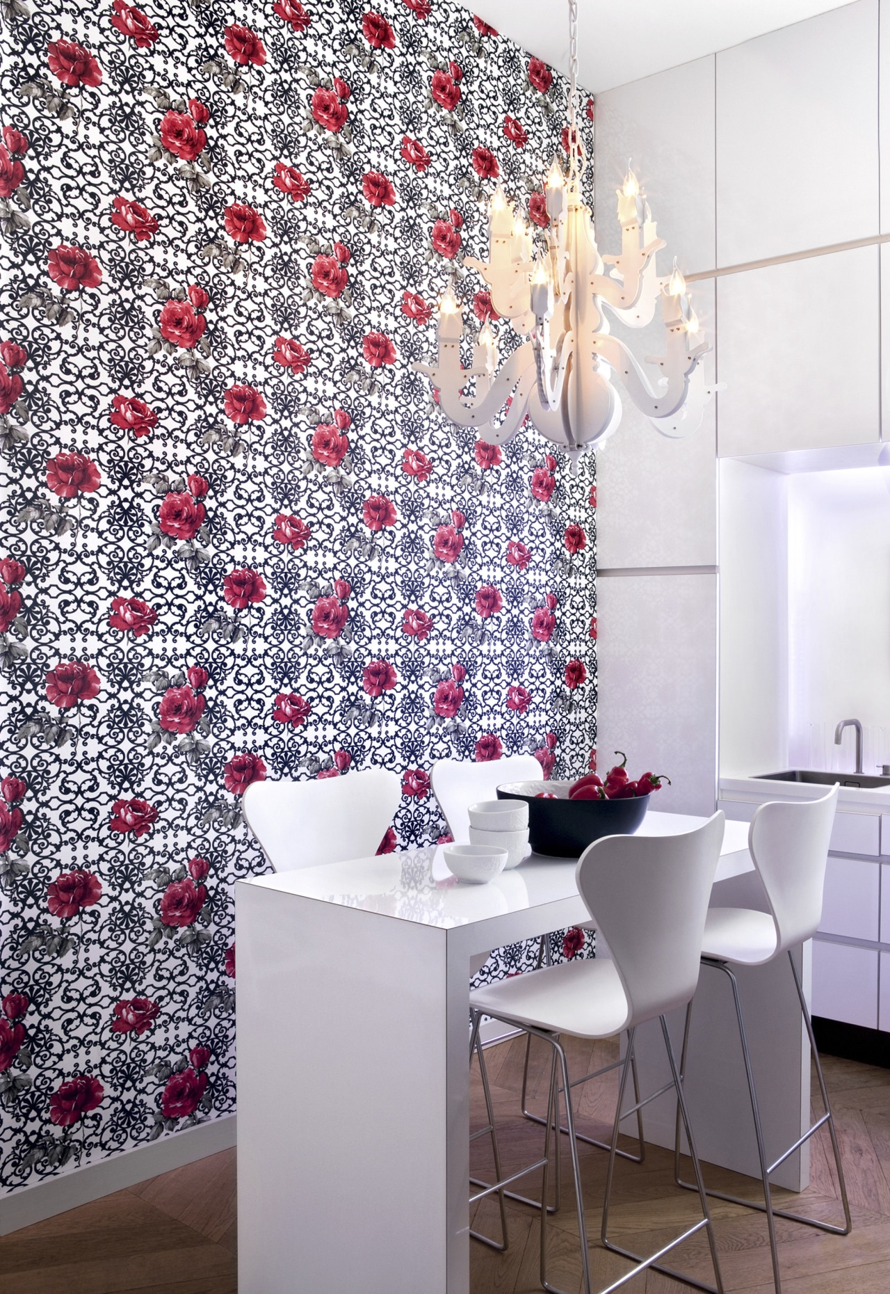 This wallpaper was supplied and designed by Pacific flooring, interior design, room, tile, wall, wallpaper, white