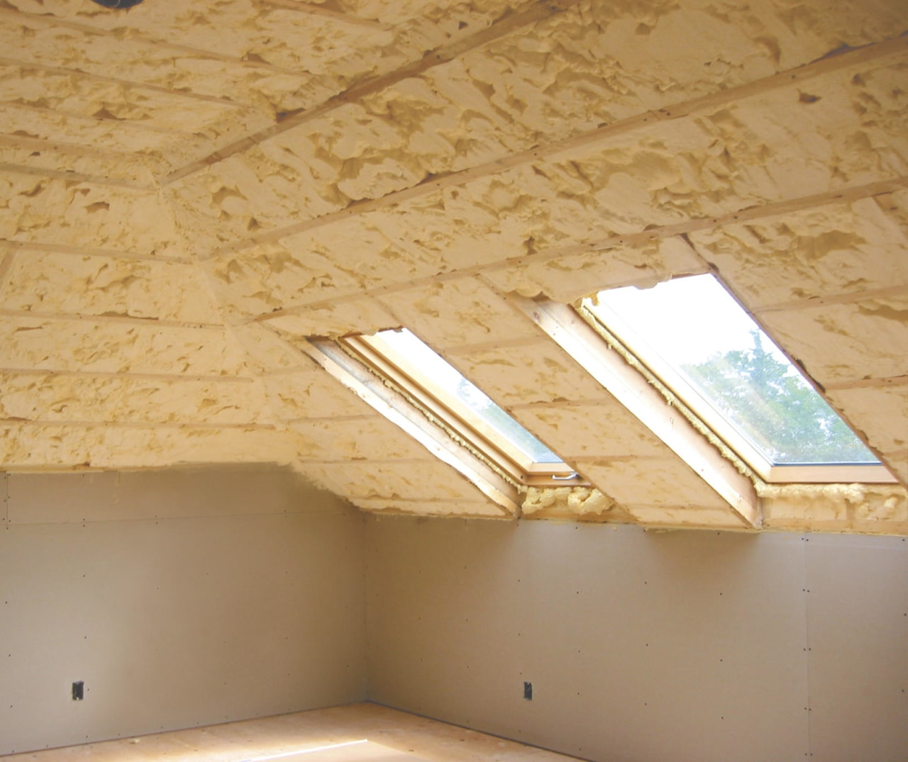 Icynene Spray Foam starts of as a liqquid angle, attic, beam, ceiling, daylighting, floor, lighting, plaster, plywood, wall, wood, wood stain, orange