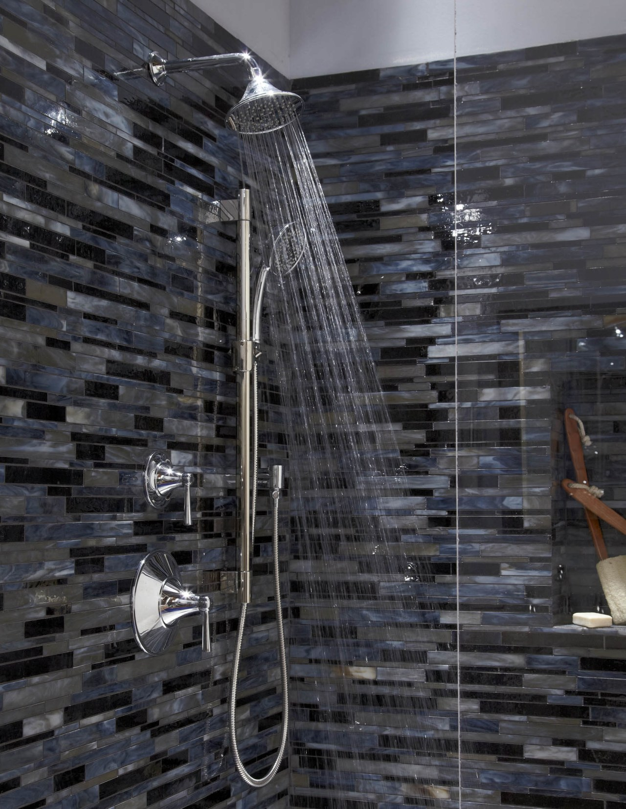Shower faucet from TOTO USA architecture, wall, black