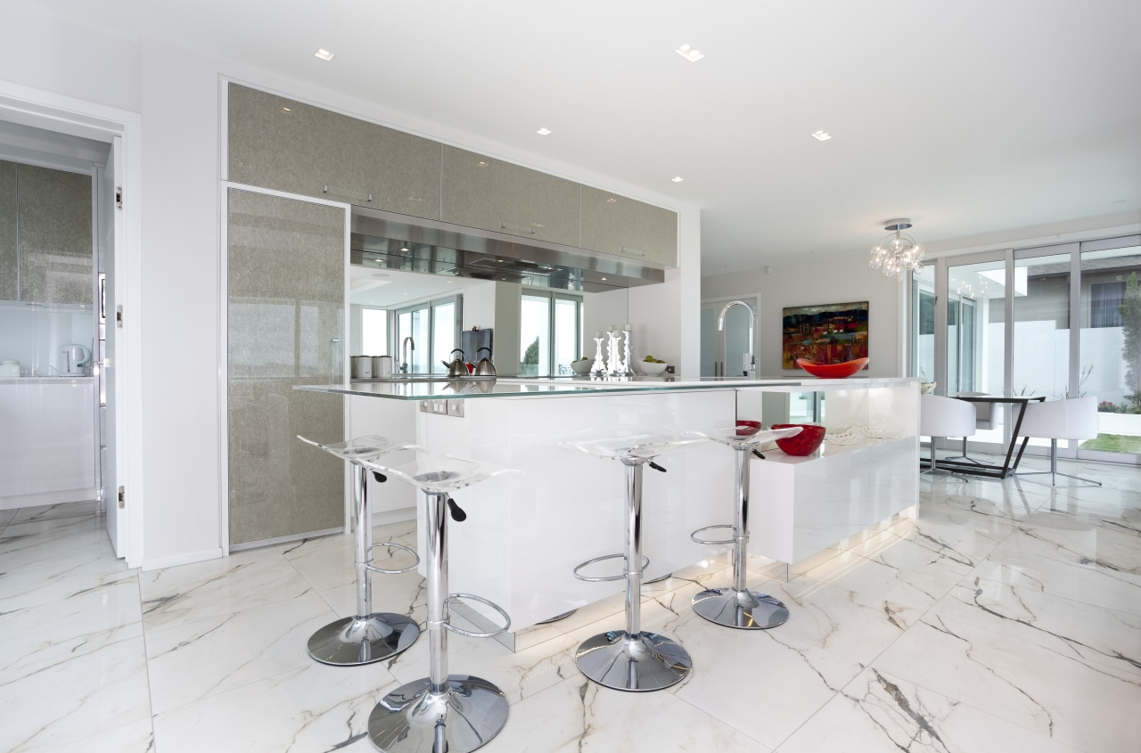View of light toned kitchen with marble floor countertop, interior design, kitchen, property, real estate, room, white, gray