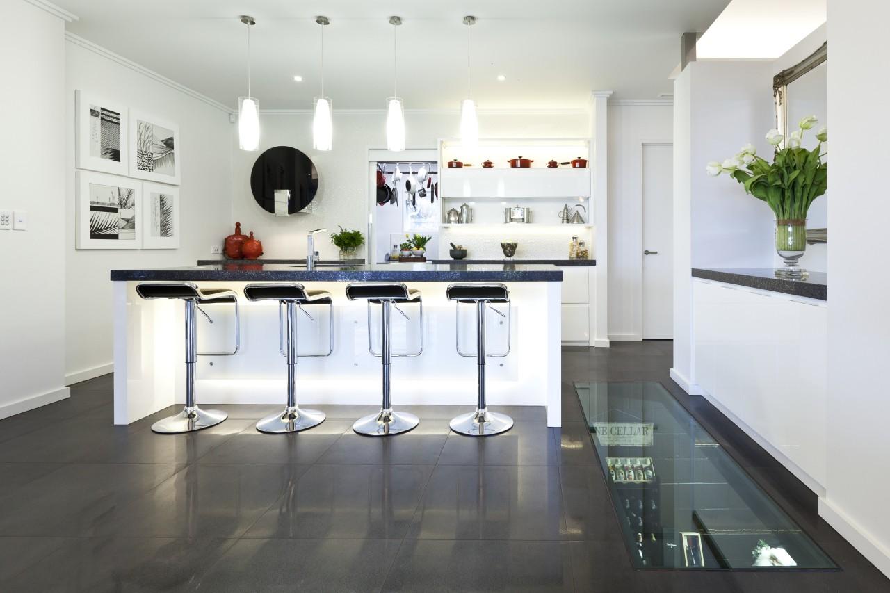 wide shot fo kitchen, white, contemporary, bar stools countertop, floor, interior design, kitchen, product design, table, white