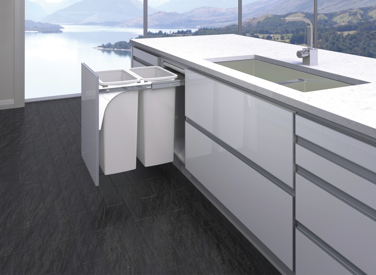 Never part of the scenery, Hideaway Bins keep countertop, floor, glass, gray, black