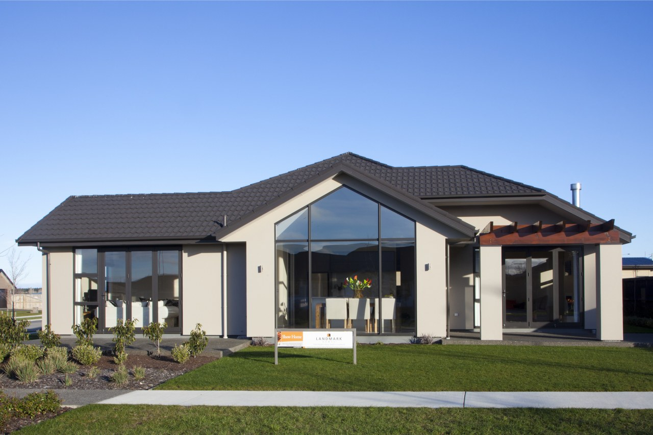 Front view of house elevation, estate, facade, home, house, property, real estate, roof, teal