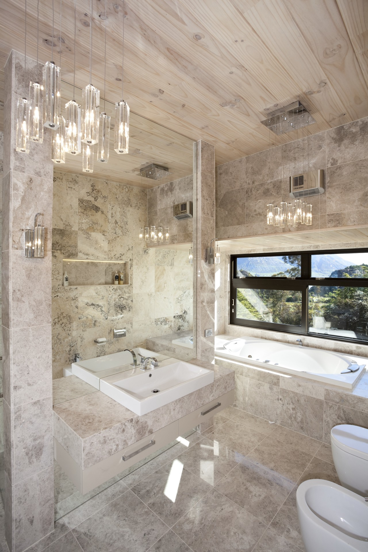This bathroom was designed by Jalna Eve Design architecture, bathroom, estate, floor, home, interior design, room, tile, gray
