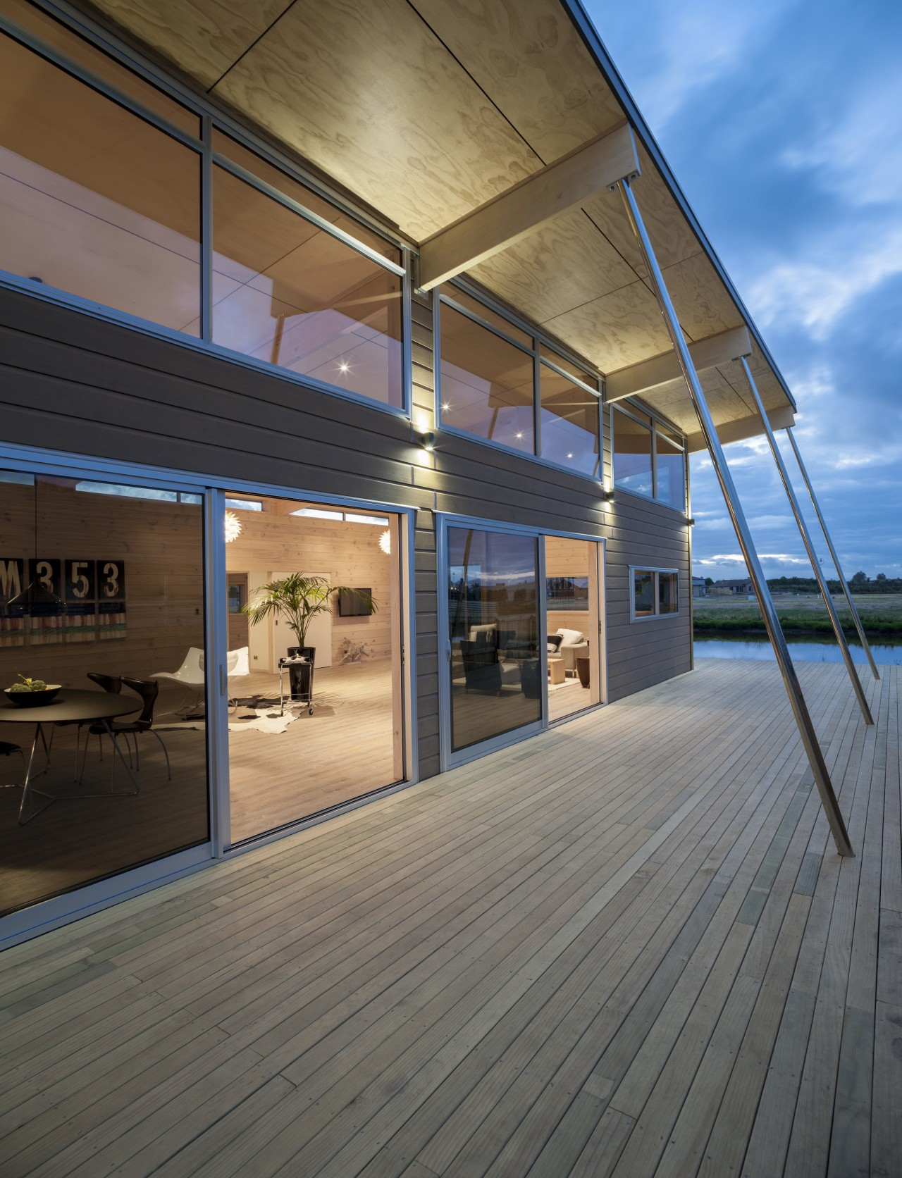 Lockwood show home Tauranga A high raking roof apartment, architecture, building, daylighting, deck, facade, home, house, real estate, siding, window, wood, gray