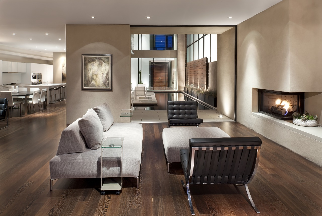 This living room in a modern new home ceiling, floor, flooring, hardwood, interior design, laminate flooring, living room, real estate, room, wood flooring, gray, brown