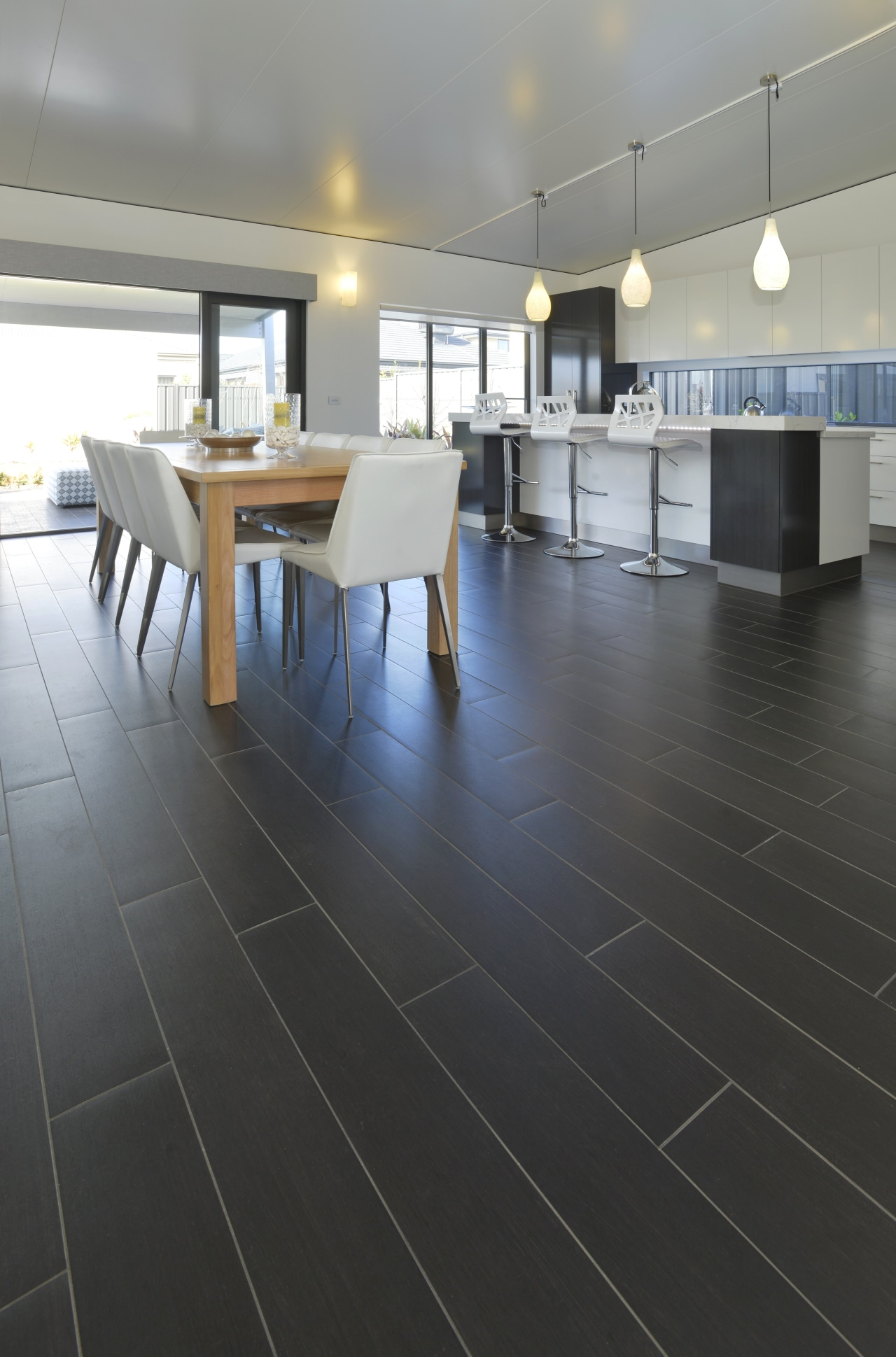 Walk this way  new porcelain tiles from daylighting, floor, flooring, hardwood, interior design, laminate flooring, property, tile, wood, wood flooring, black, gray