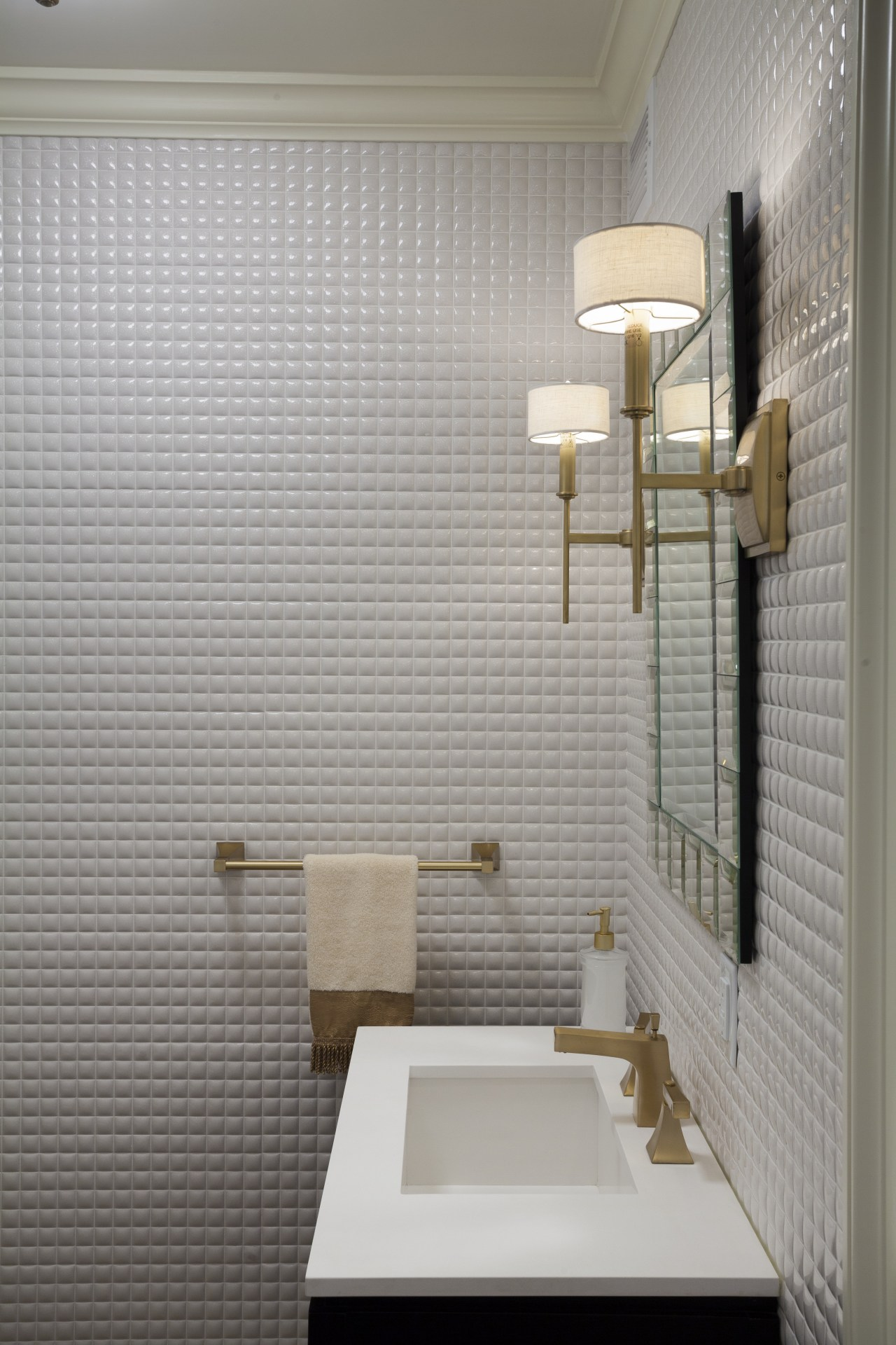Glossy white mosaic tiles in this renovated powder bathroom, daylighting, floor, interior design, plumbing fixture, product design, room, sink, tap, tile, wall, gray