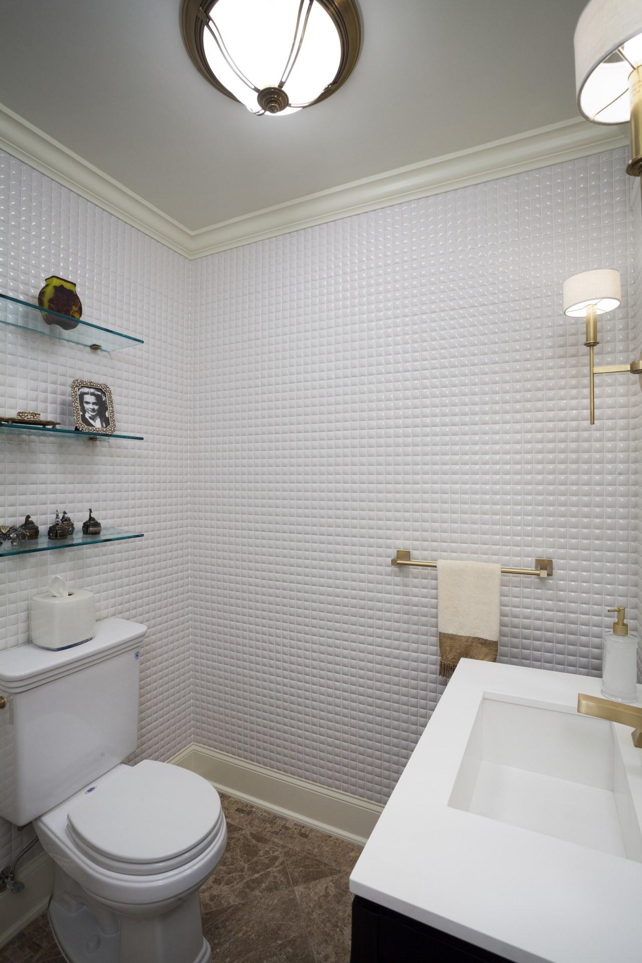 Brown-toned Lite Emperador marble floor tiles were laid bathroom, bathroom accessory, ceiling, daylighting, floor, home, house, interior design, plumbing fixture, room, sink, tap, tile, wall, gray