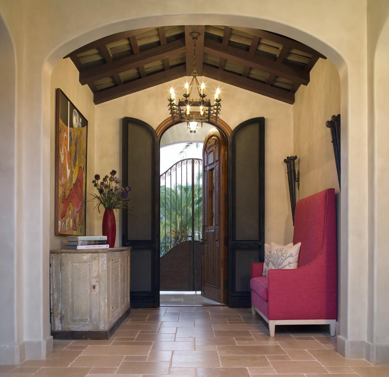 Spanish style interior arch, ceiling, door, estate, home, interior design, lobby, property, real estate, brown, orange