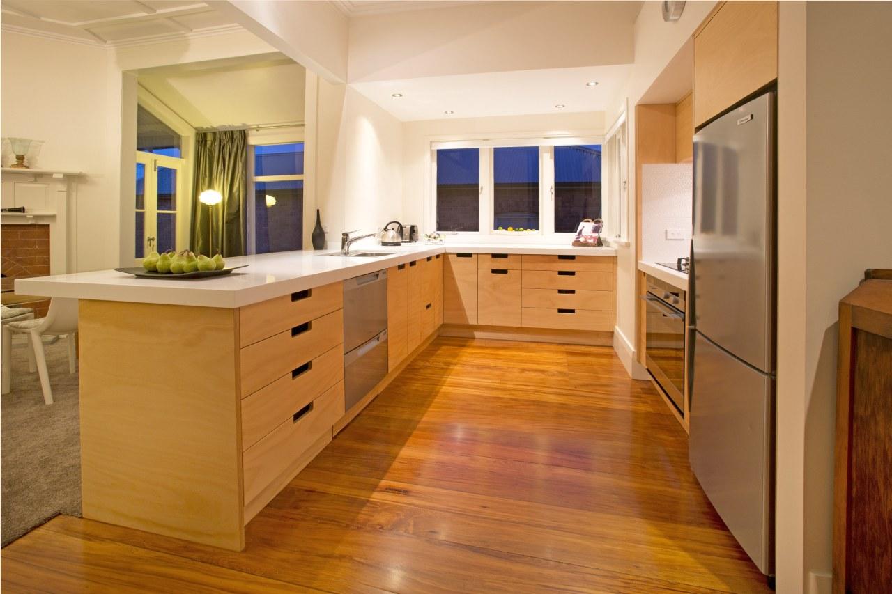 Toni Roberts kitchen with Fisher & Paykel appliances cabinetry, countertop, cuisine classique, floor, flooring, hardwood, interior design, kitchen, real estate, room, wood, wood flooring, orange, brown