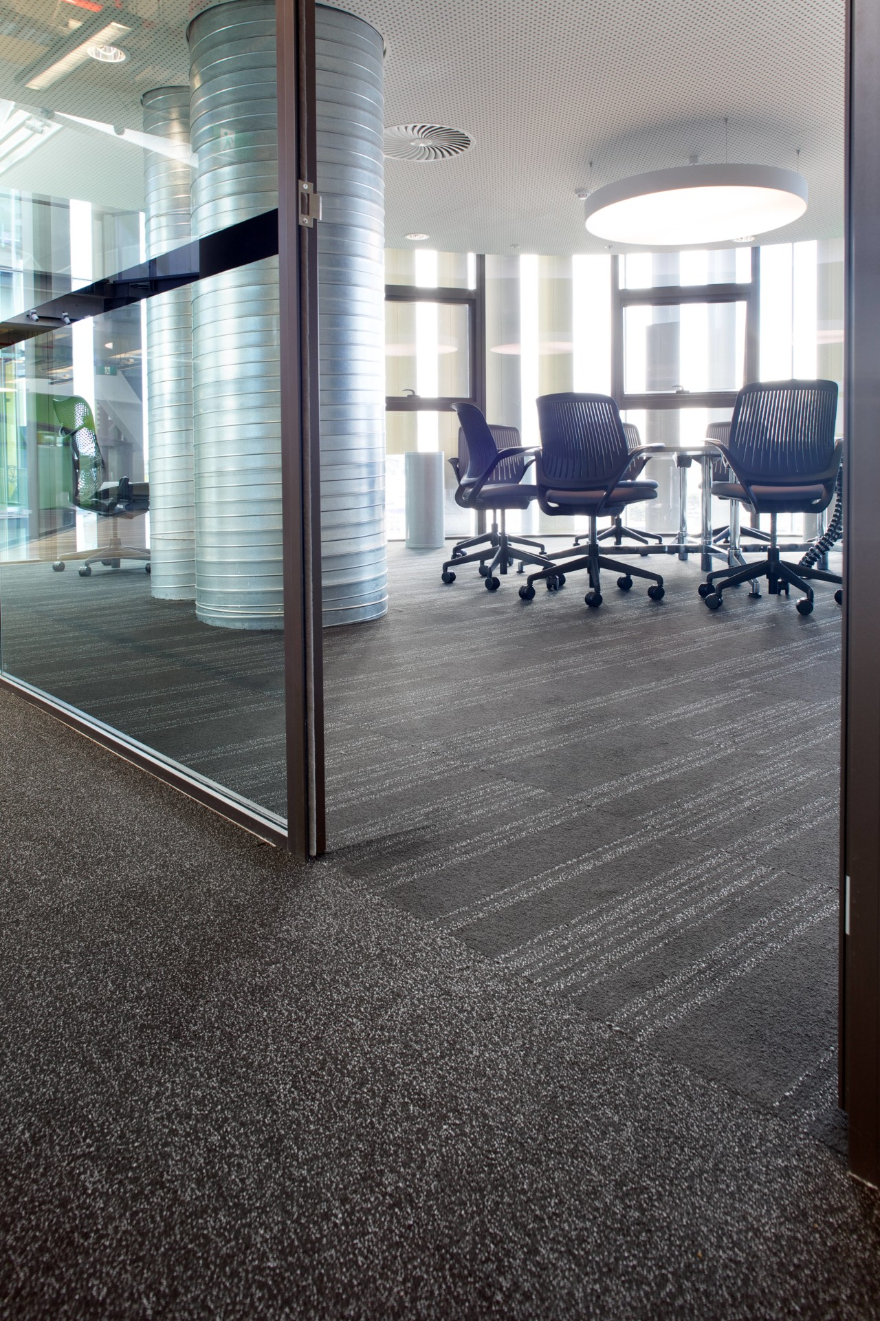 Godfrey Hirst carpet tiles feature in the ASB architecture, floor, flooring, lobby, structure, tile, gray, black