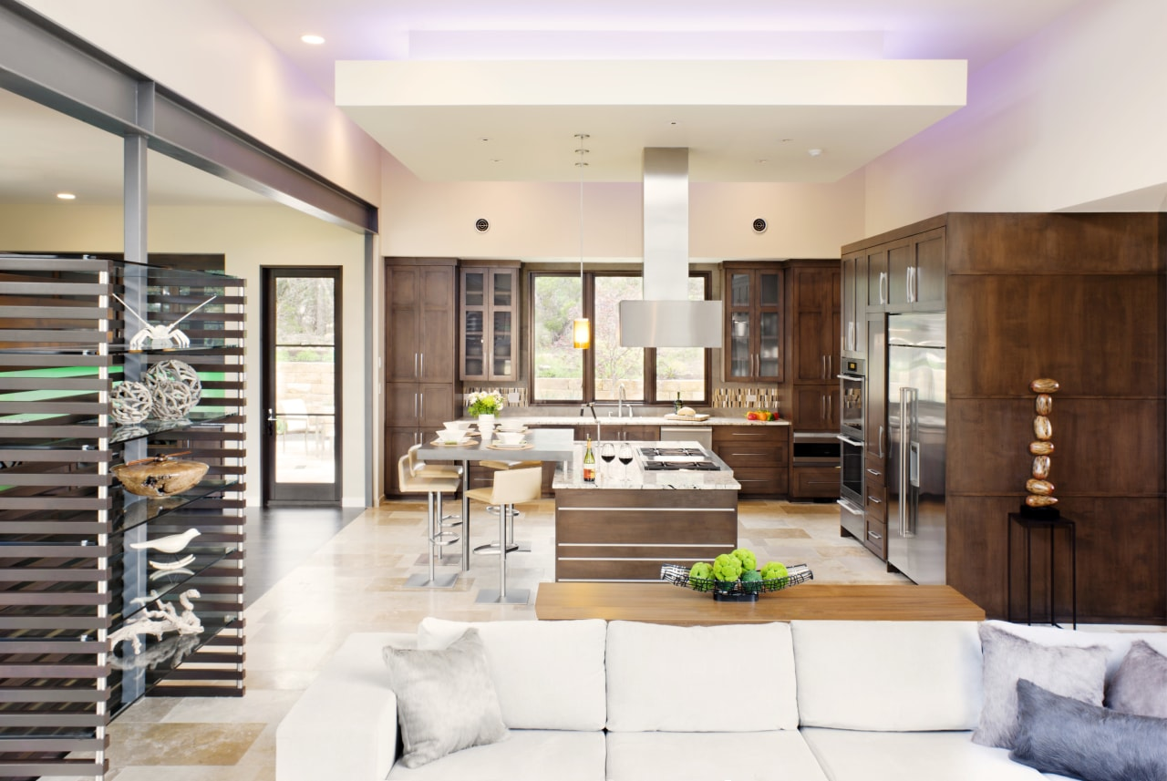Contemporary café style wood kitchen interior design, living room, lobby, white