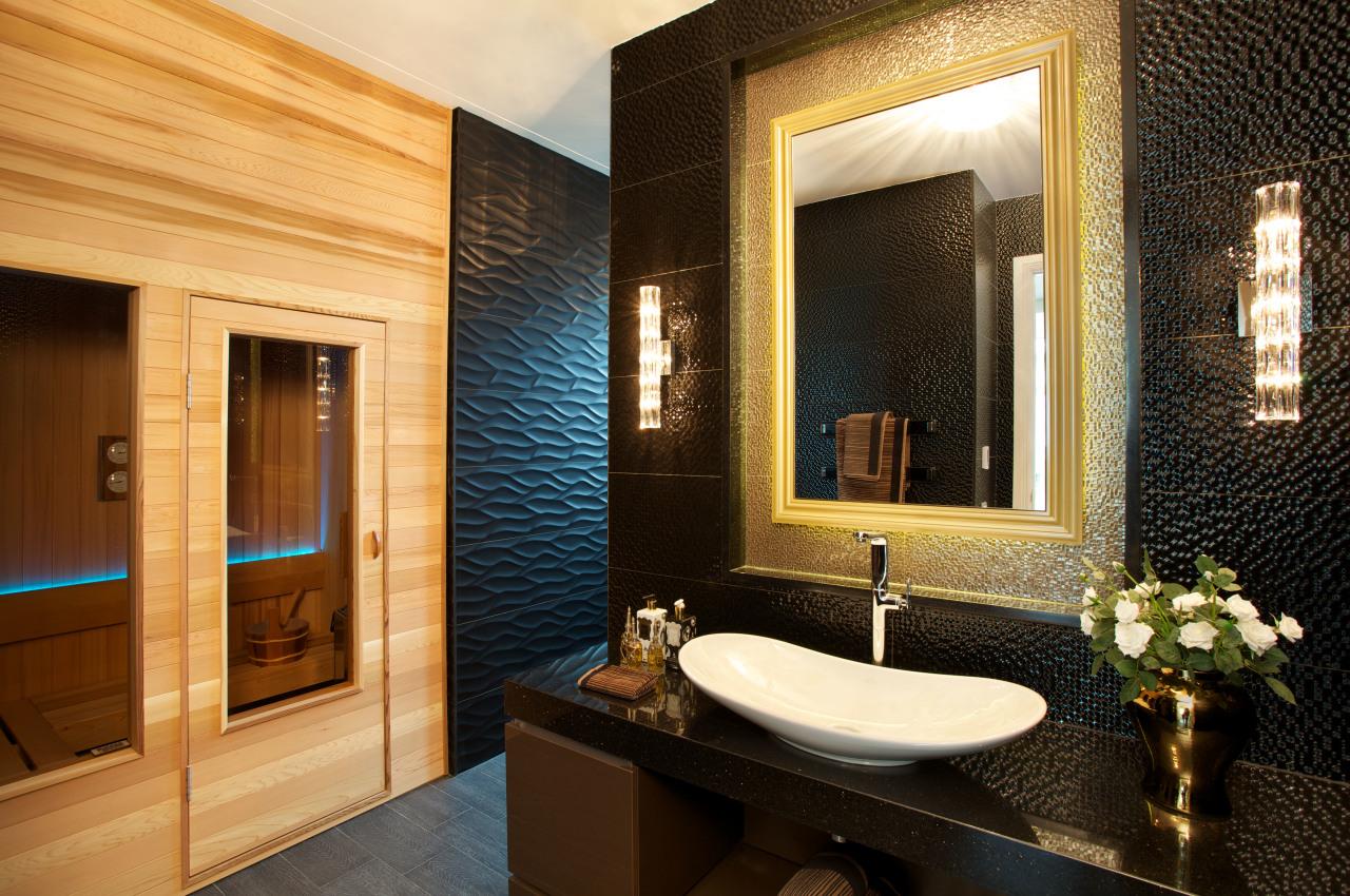 Textural tiles in gold framing the recessed mirror bathroom, estate, home, interior design, room, orange, brown