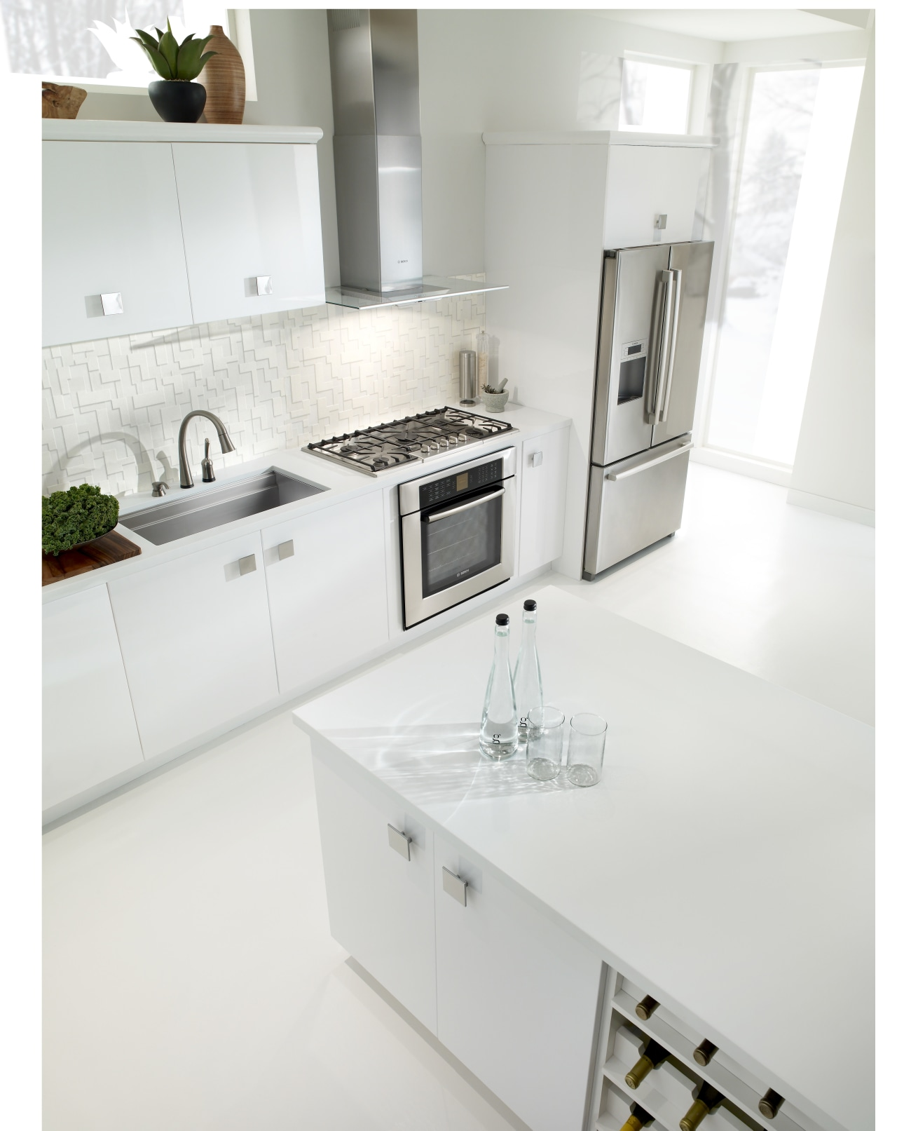 With both boards removed the sink is large countertop, floor, furniture, interior design, kitchen, product, product design, sink, tap, white