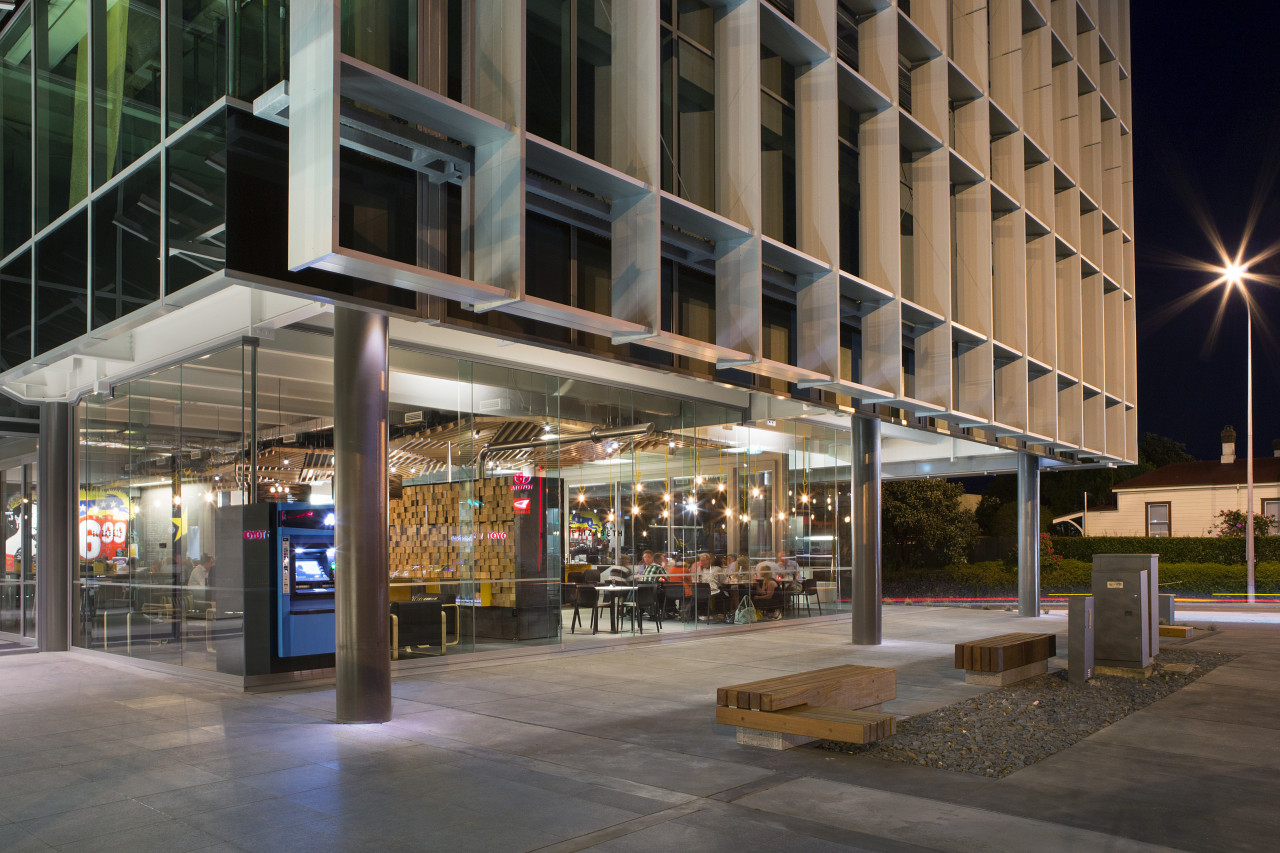 Part of the ground floor of the ANZ architecture, building, city, downtown, metropolitan area, mixed use, night, black, gray