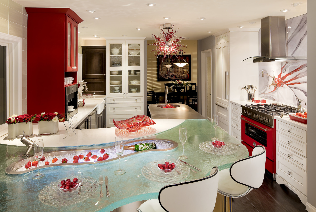 The sensuous curves of this tempered glass countertop countertop, home, interior design, kitchen, living room, room, gray