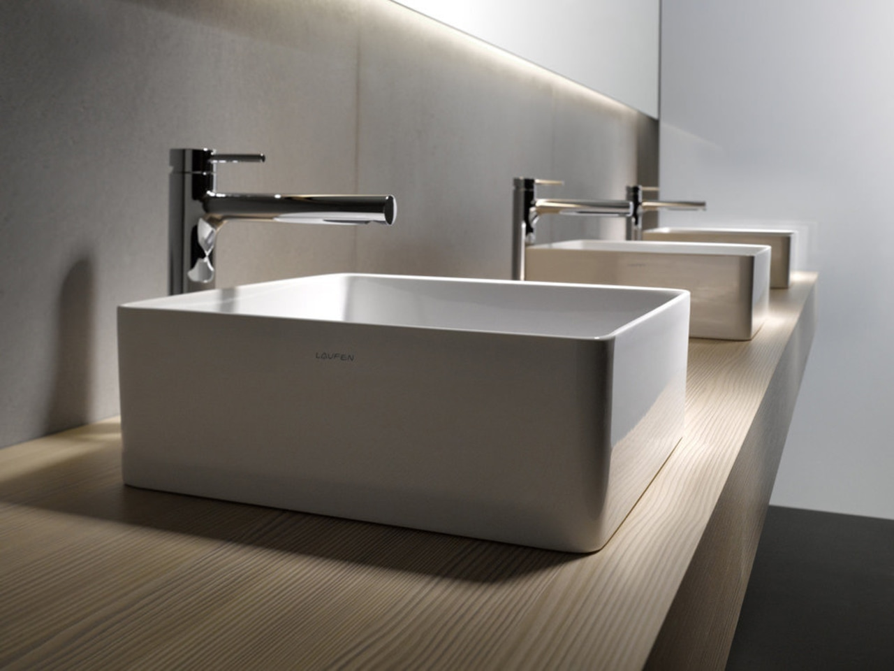 The Living Square range from laufen is also bathroom, bathroom sink, ceramic, floor, plumbing fixture, product design, sink, tap, gray, black