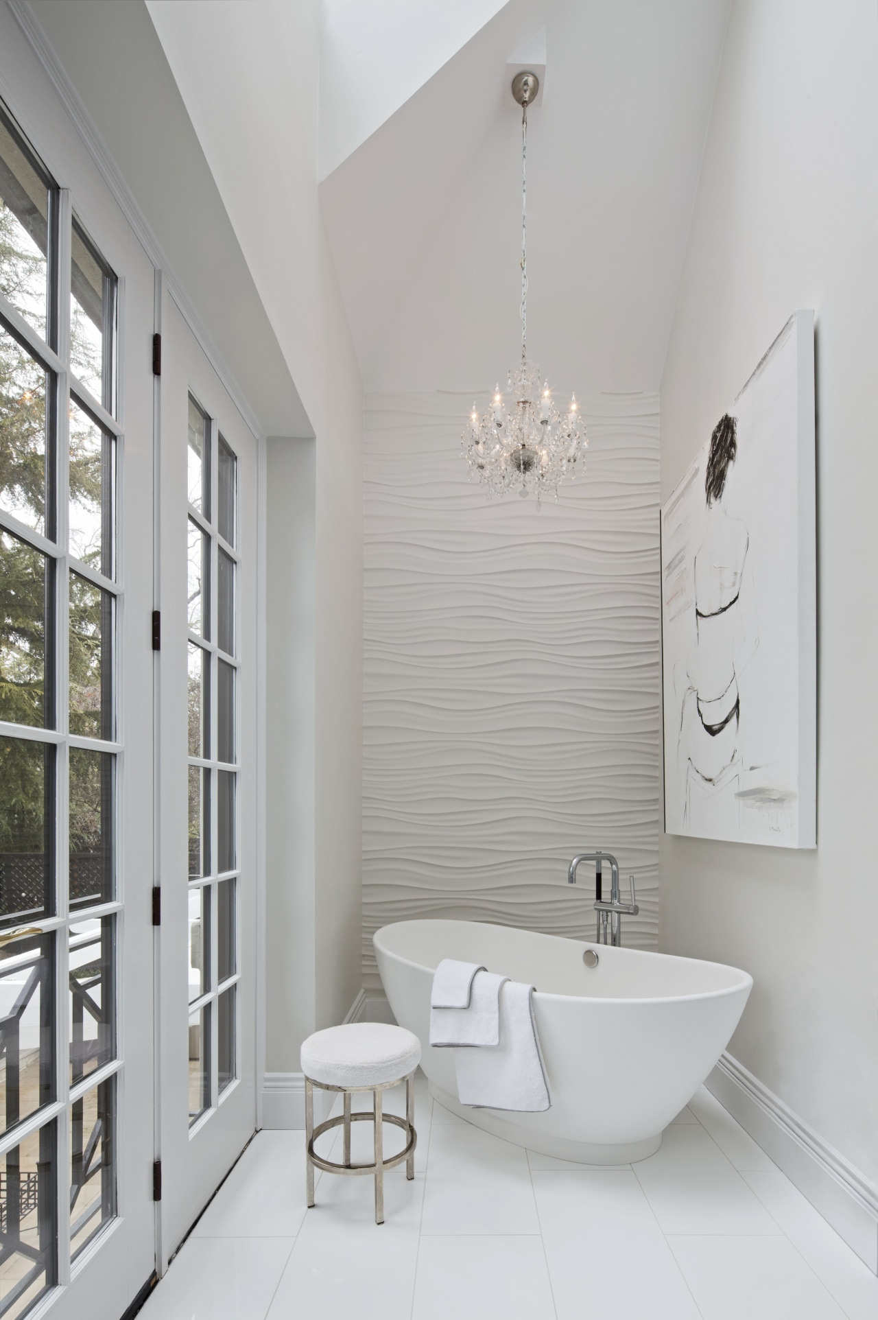 A sculptural freestanding tub sits beside the French bathroom, bathroom accessory, floor, home, interior design, plumbing fixture, product design, room, sink, tap, gray