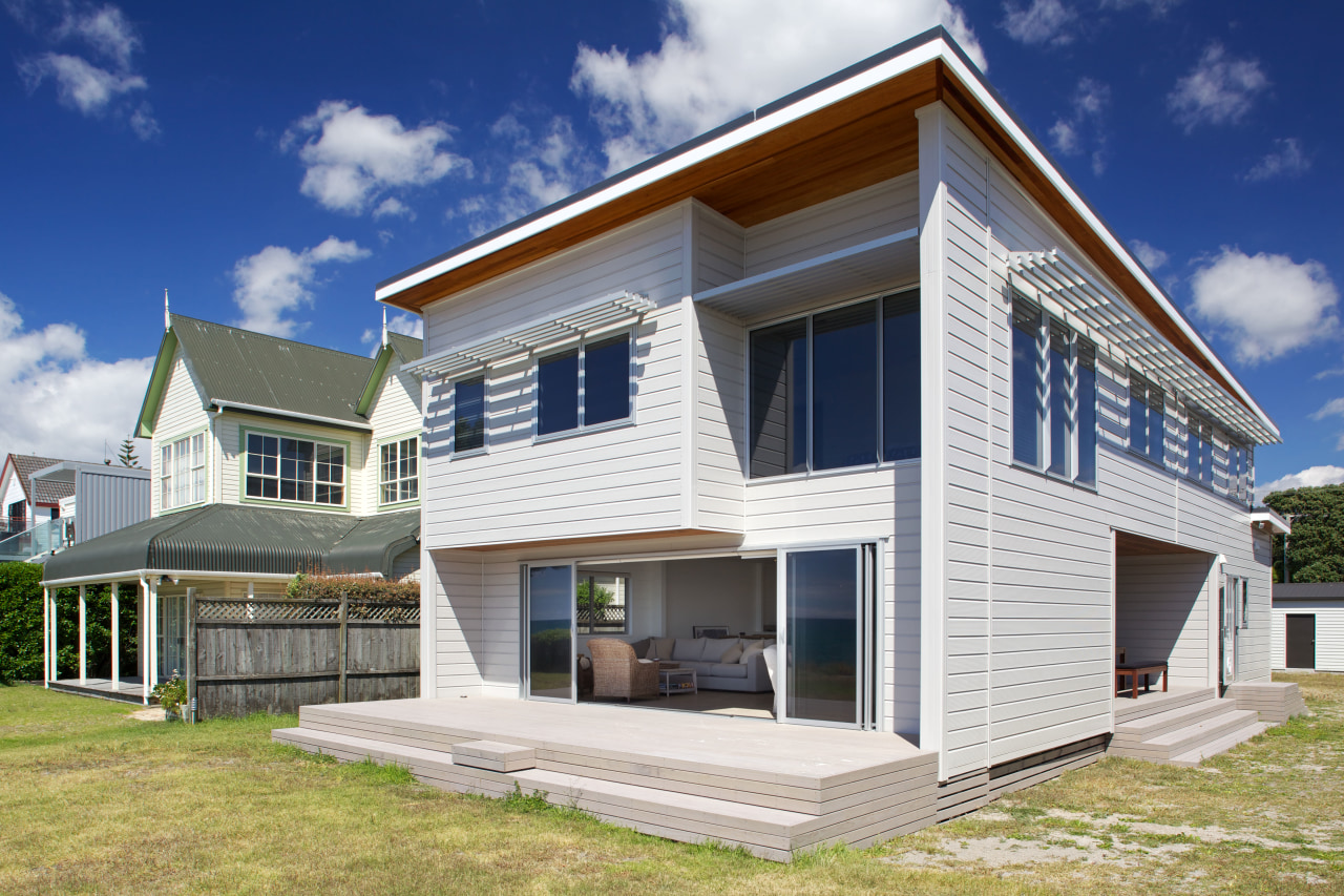 Modern holiday home building, cottage, elevation, facade, home, house, property, real estate, residential area, siding, blue