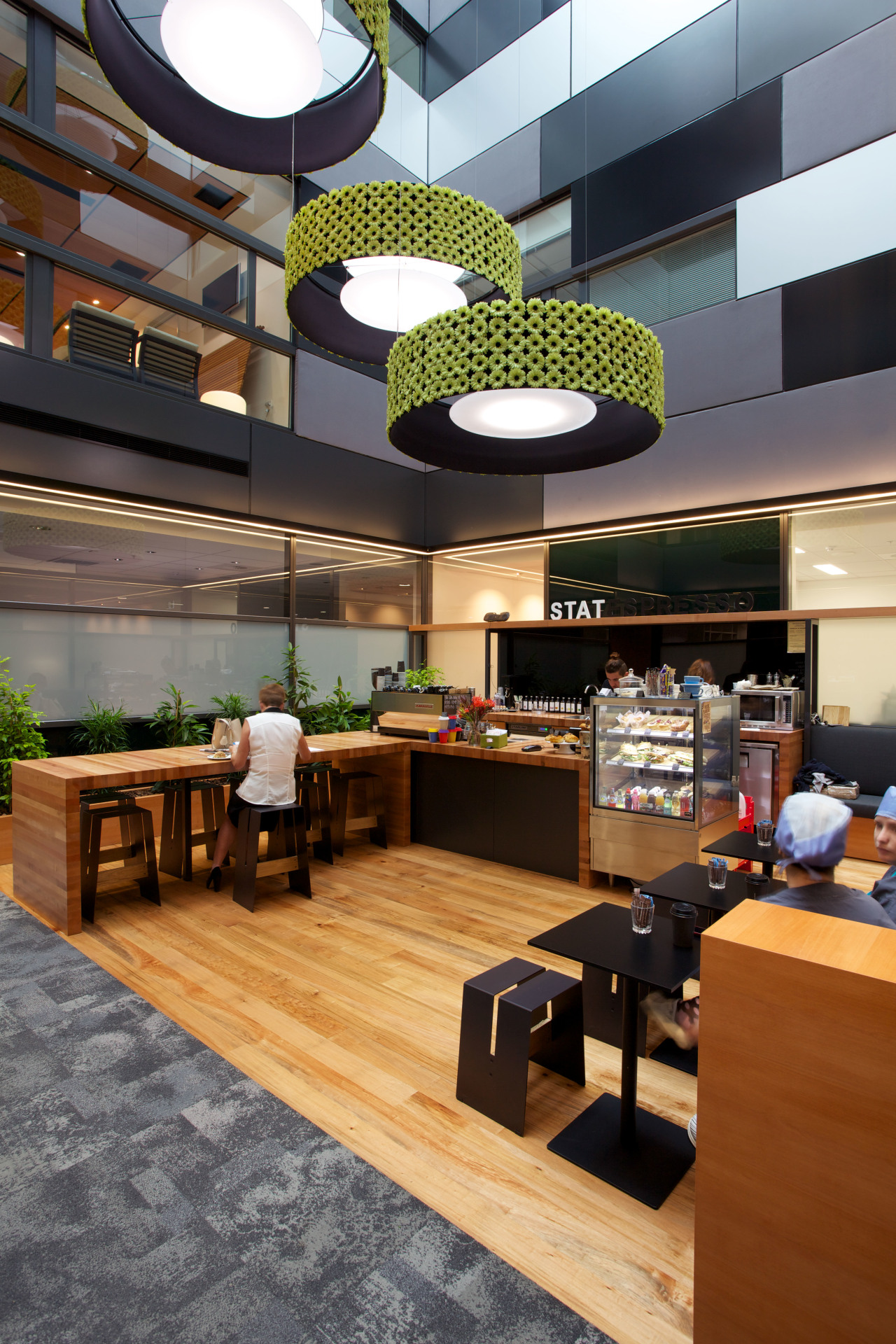 project management from N-Compass brought everything together on café, furniture, interior design, lobby, product design, table