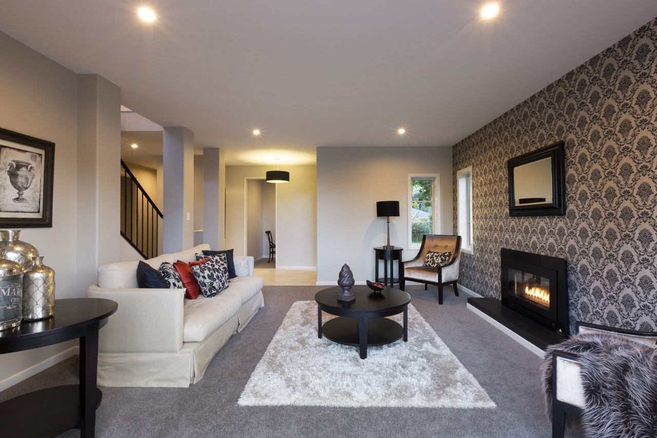 Kerehi show home by Landmark Homes ceiling, floor, home, interior design, living room, property, real estate, room, suite, wall, gray