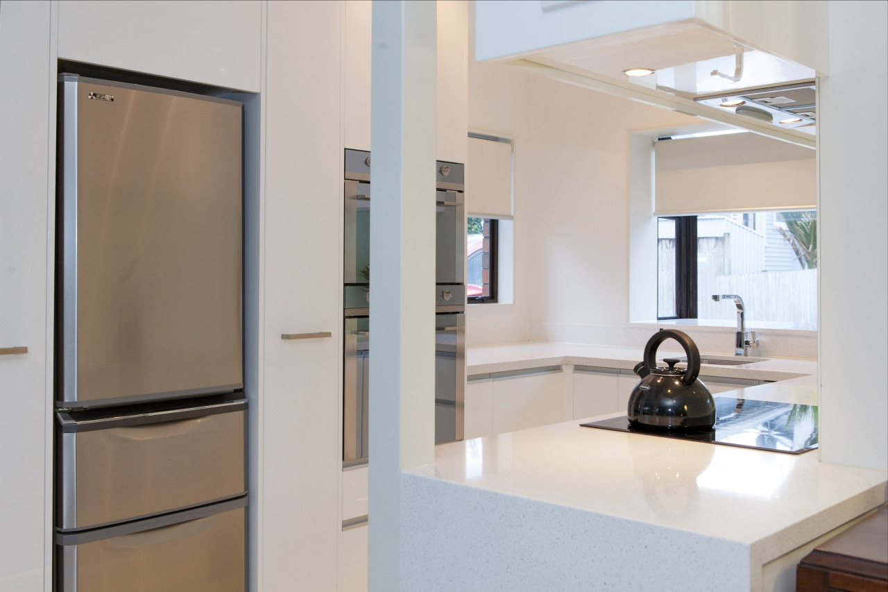 This small kitchen was completely transformed by kitchen glass, interior design, product design, gray
