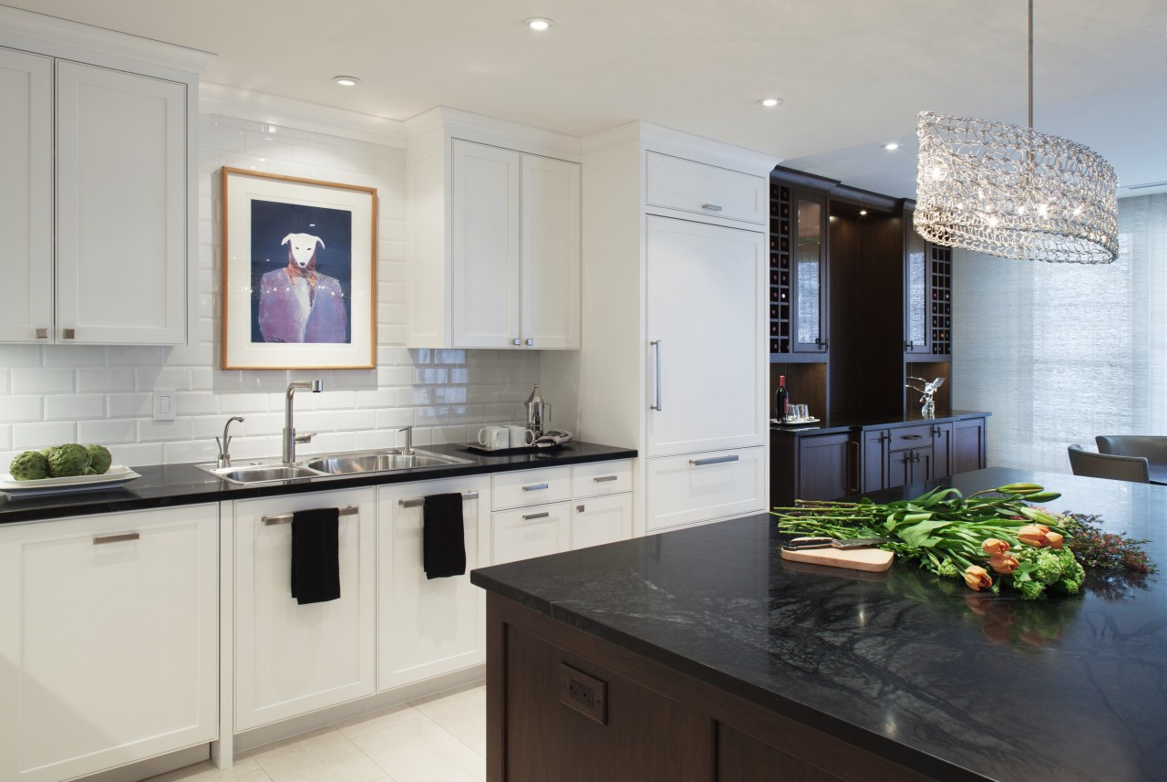 Paneled kitchen with canoe chandelier, subway tile backsplash, cabinetry, countertop, cuisine classique, home appliance, interior design, kitchen, room, gray
