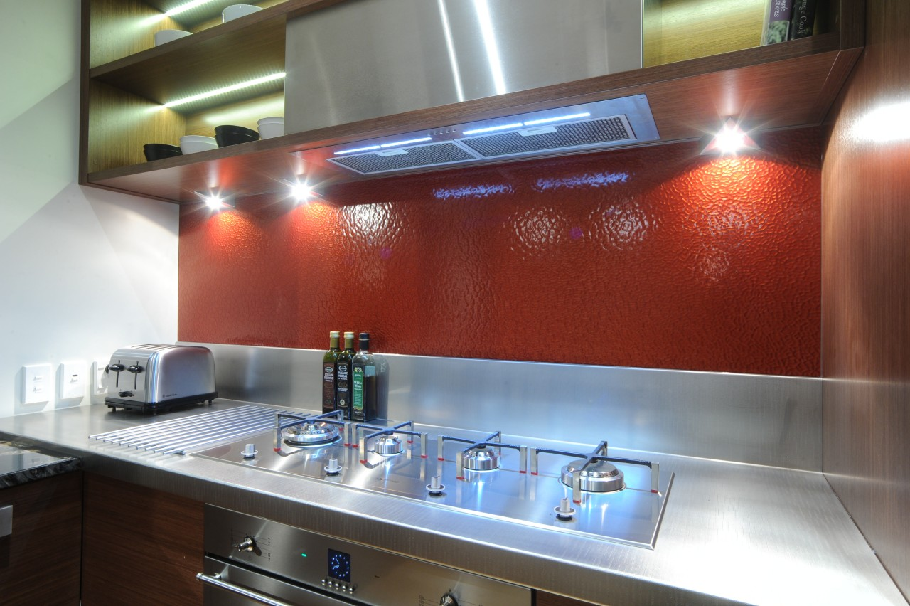 Kitchen designer Suyin says the extra-long Smeg Linea countertop, glass, interior design, kitchen, red, gray