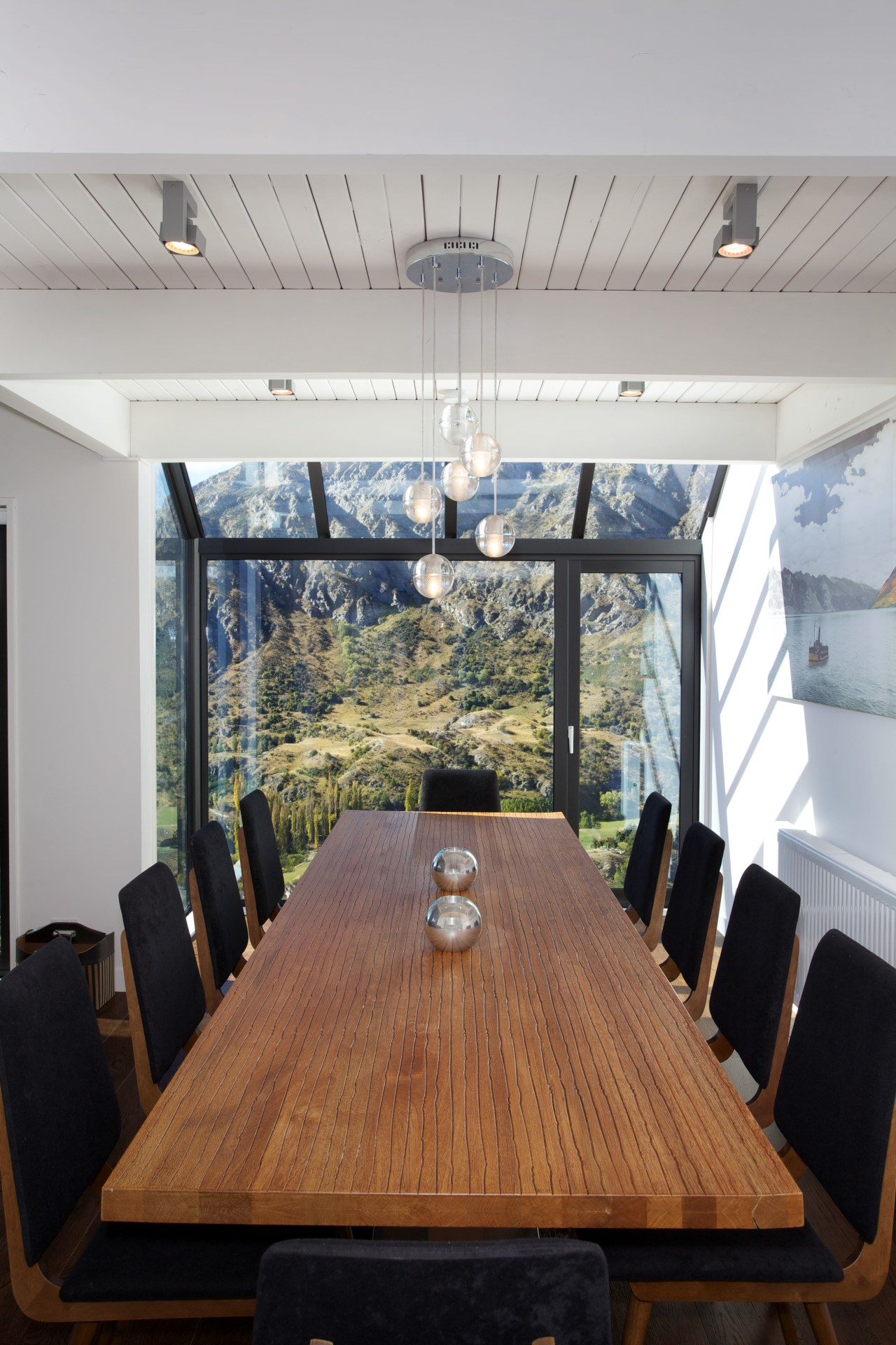 After a comprehensive renovation, the views from the furniture, interior design, real estate, table, gray