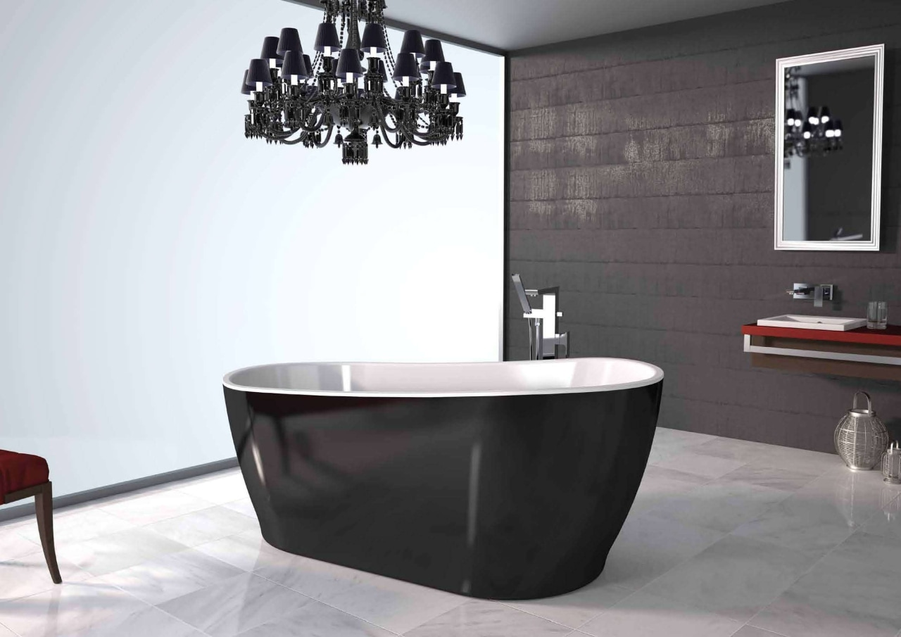Bathroom ideas that you can find at Home bathroom, bathroom sink, bathtub, ceramic, floor, interior design, plumbing fixture, product design, tap, white, black