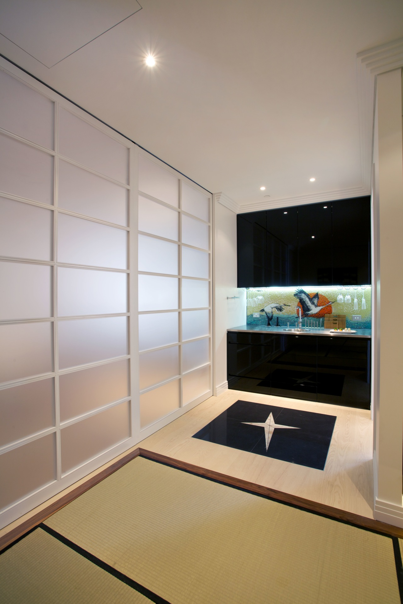Tea cabinet seen from meditation room in Japanese architecture, ceiling, interior design, room, gray
