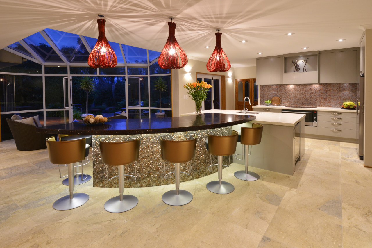 This new kitchen, by Nicola Cumming, features a countertop, interior design, kitchen, real estate, table, orange
