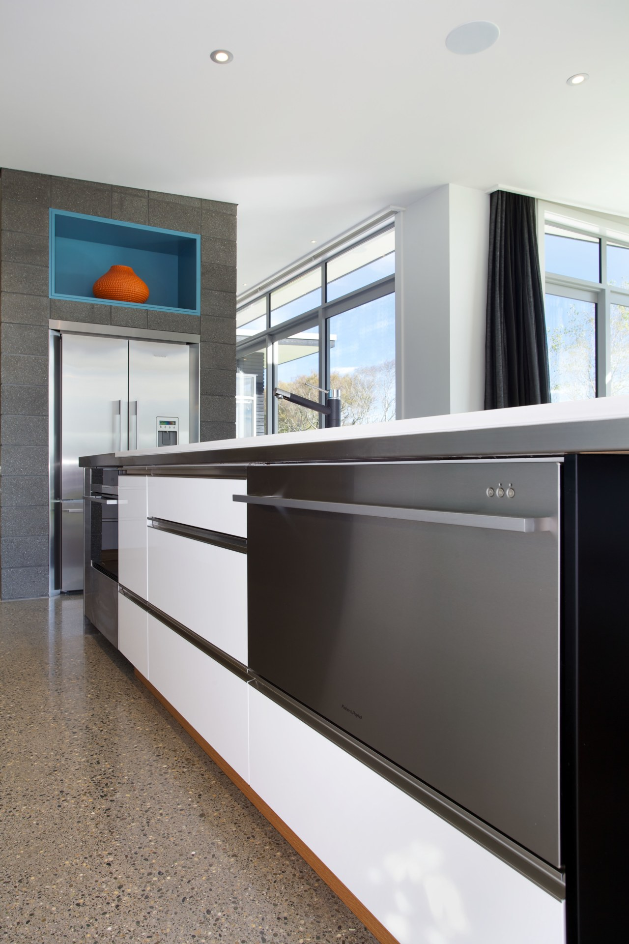 Modern kitchen with Fisher & Paykel DishDrawer cabinetry, countertop, home appliance, interior design, kitchen, white, gray