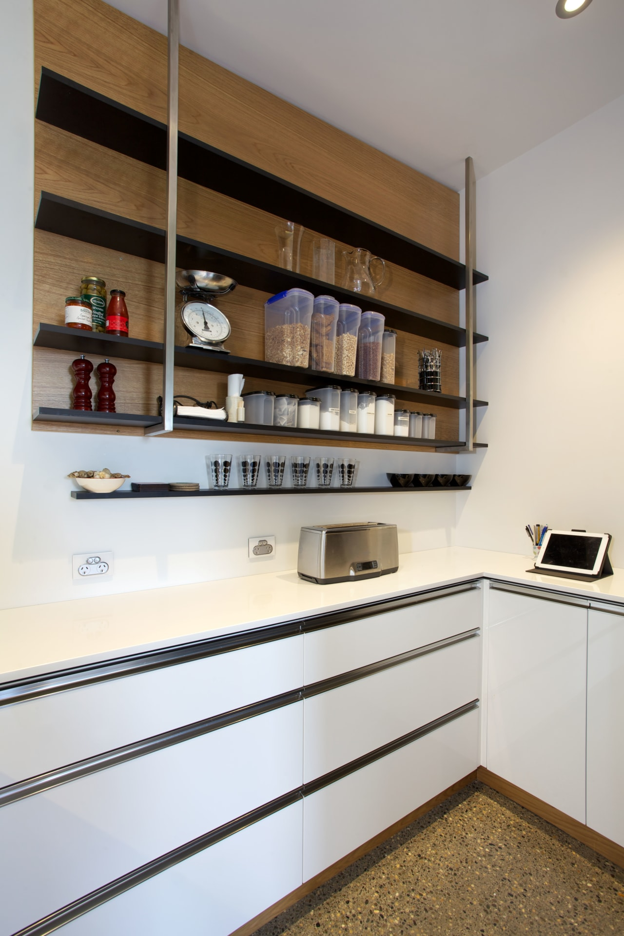 This scullery is an extension of a award-winning cabinetry, furniture, interior design, kitchen, shelf, shelving, white