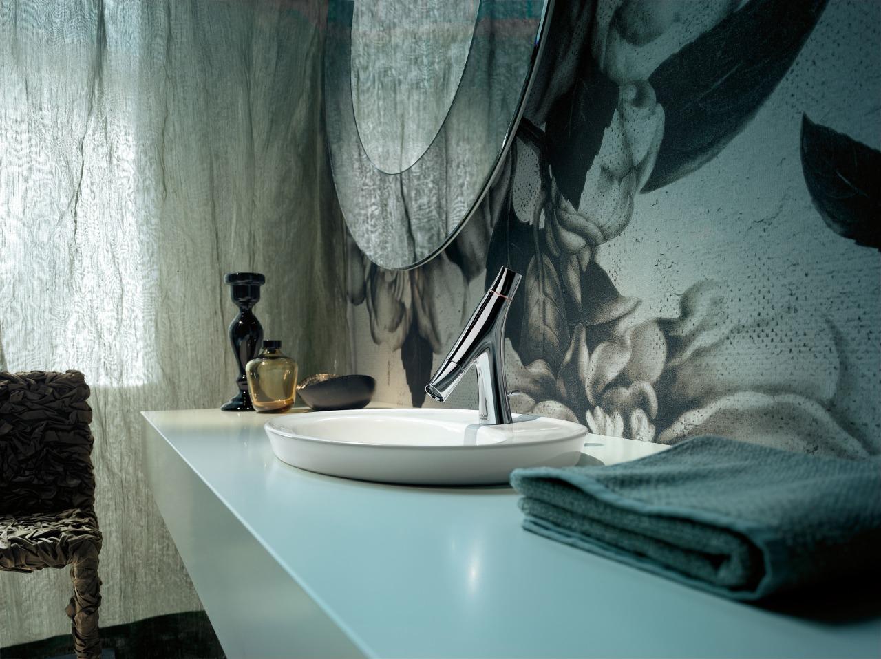 This sculptural bathroom tap complements a round sink, bathroom, interior design, room, window, gray, black