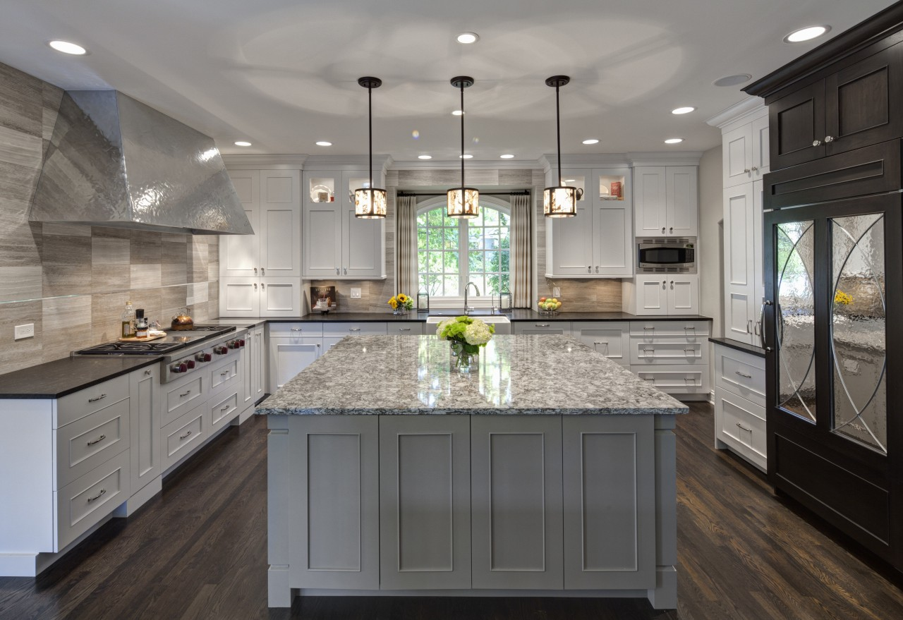 Traditional kitchen with French influence by Drury Design cabinetry, countertop, cuisine classique, interior design, kitchen, room, gray