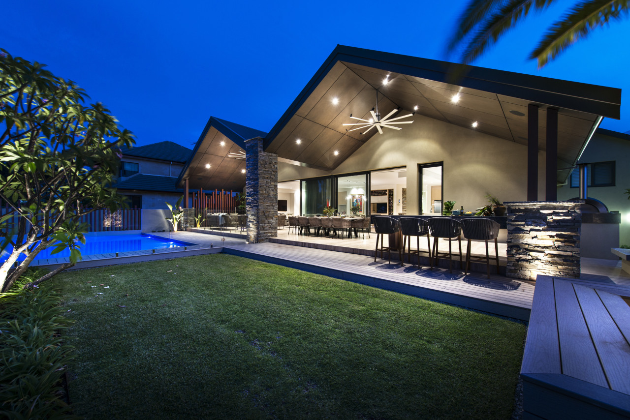 This major renovation and extension by architectural designer architecture, backyard, elevation, estate, facade, home, house, lighting, property, real estate, residential area, resort, sky, swimming pool, villa, blue, black