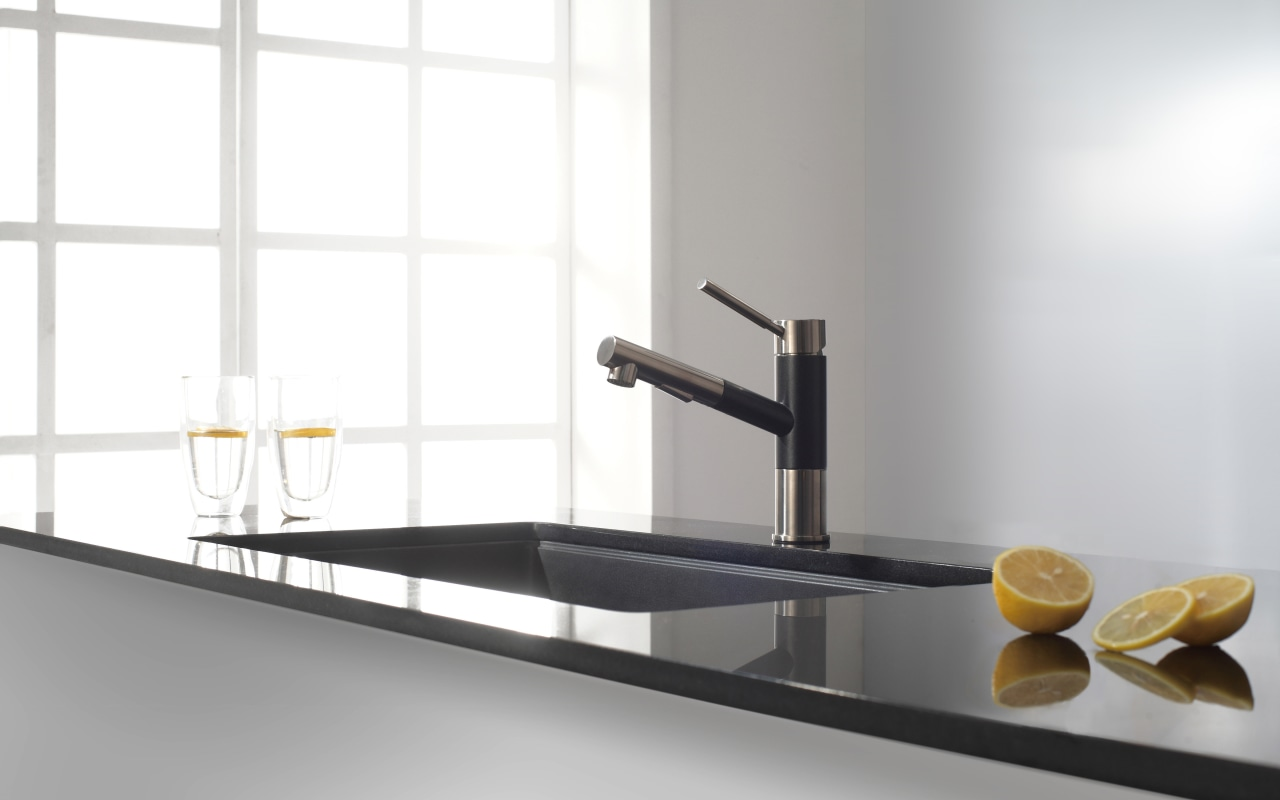 Geo Series faucets have a dual-function sprayhead and furniture, plumbing fixture, product design, sink, tap, white