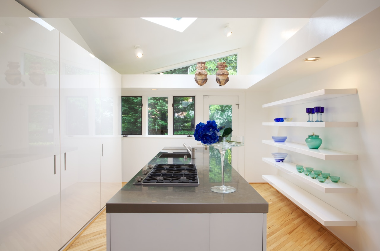 The tall bank of cabinets is exactly the ceiling, home, interior design, kitchen, real estate, room, gray